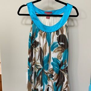 Women's summer tunic in turquoise and brown
